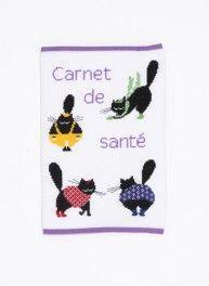 Kit protège carnet de santé chats colorés, point de croix 16 x 26 cm, Bergère de France