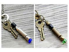 Doctor Who: blue or green sonic screwdriver with Tardis key pendant necklace by vintagehomage for $6.00