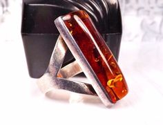 LARGE Bold Mid Century Sterling Silver 925 Baltic Amber MENS Ladies Size 11 Ring #Studio #Abstract #AddictedToShopping #AddictedToOnlineShopping #EstateJewelry #GemstoneJewelry #UniqueJewelry #SilverJewelry #GemInsider #Statement #Modernist #Sterling #SterlingSilver #Jewelry #ModernistJewelry #ArtsyJewelry #AmberRing #Ring #ModernJewelry #SterlingModernistJewelry #VintageJewelry #VintageModernistJewelry