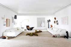 White living room with artful touches