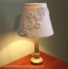 Rosette Lamp shade.  Old shade, recovered with muslin and rosettes made out of the leftover muslin.