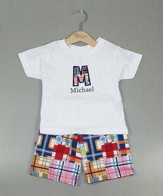 Love this White Personalized Tee & Madras Shorts - Infant, Toddler & Kids by Princess Linens on #zulily! #zulilyfinds