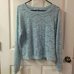 "Mint lace top Forever 21 mint green lace top w/solid neckline and cuffs. Would wear w/cami underneath for coverage. EUC - no pulls or snags in the lace. Size L. Approx measurements flat: top of shoulder to hem 22"", armpit to armpit 19"", sleeves top of shoulder to cuff 29"". Perfect for the upcoming holidays or anytime! Please ask any questions prior to purchasing. Thank you! Forever 21 Tops"