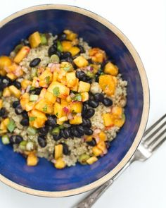 black bean and quinoa bowl with peach salsa
