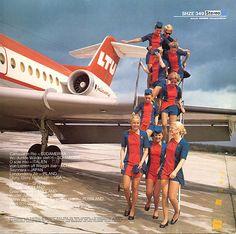 German LTU airline stewardesses on the back of a vintage album cover.