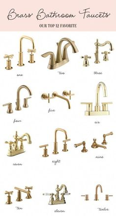 Home: Brass Bathroom Faucets Palm Beach lately's favorite brass faucets<br> Kohler Purist widespread with low cross handles faucet / Delta Lahara centerset faucet/ Kingston widespread faucet / Delta Trinsic widespread faucet / Brass Bathroom Fixtures, Brass Faucet, Bathroom Hardware, Bathroom Sink Faucets, Kitchen Fixtures, Washroom, Gold Kitchen Faucet, Concrete Bathroom, Brass Hardware