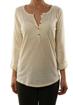 Lucky Brand Women's 3/4 Sleeve Henley Shirt White 7WD6046-3NG/100 Lucky Brand. $37.98