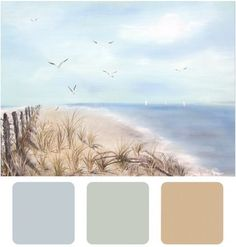 Coastal colors  Quiet Moment/Antique Jade/Sandy Brown BM Guest room paint is BM sandy brown so maybe