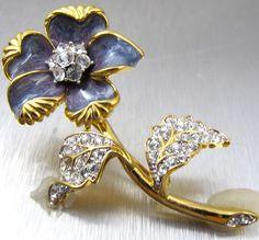 NOLAN MILLER Flower Brooch Blue Enamel Rhinestones Figural Designer Signed Figural Brooch Vintage
