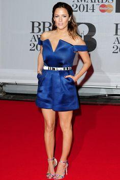 Caroline Flack structured royal blue jumpsuit