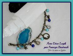 Bracelet reine de nuit, perles turquoise et bleue royal, ton bronze antique, boho gitan, fait main cadeau anniversaire, fête des mères, noël