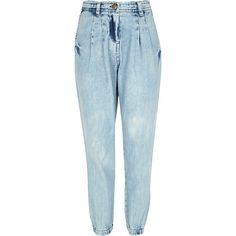Girls blue peg leg denim trousers