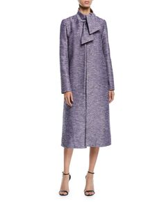 Lela Rose Tie-Neck Sequin-Embroidered Tweed Coat and Matching Items & Matching Items Short Dresses, Dresses For Work, Designer Ties, Tweed Coat, Lela Rose, Dress Skirt, Sequins, Clothes For Women, My Style