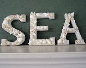 BEACH DECOR,  spell SEA letters in all white shells, pearls, seaglass, wedding, coastal decor, shell-encrusted letters, nautical decor