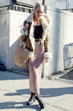 Shearling Candice Swanepoel style