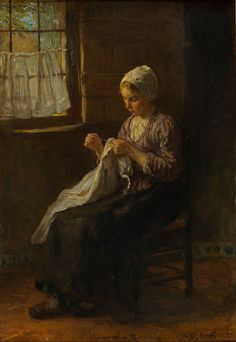 Jozef Israëls - The young seamstress - circa 1880 Oil on canvas Gemeentemuseum Den Haag, the Hague, the Netherlands