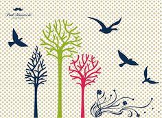 bird and tree vectors