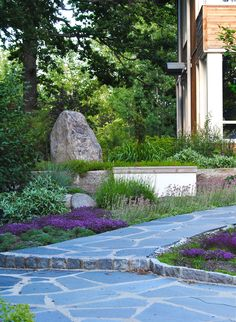 Garden path paved with slate. Design by Bonander Garden Design.