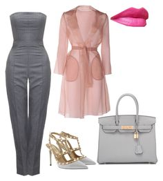 """grey can be fun"" by cosmoelan on Polyvore featuring Alexander McQueen, Valentino, Hermès and MaxMara"