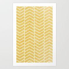 For the Corkboard- Yellow Chevron Art Print by Zeke Tucker - $17.68