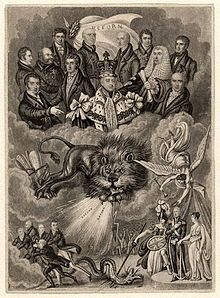 Political cartoon supporting the Reform Act: King William sits above the clouds, surrounded by Whig politicians; below Britannia and the British Lion cause the Tories to flee.