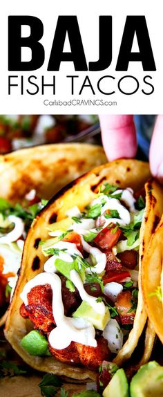 BETTER than any restaurant!!! Crispy fried Baja Fish Tacos cocooned in a warm tortilla garnished with crunchy cabbage, fresh pico de gallo, and creamy white sauce all finished with tangy lime. You wil