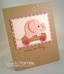 ELEPHANT - luv this die cut pink elephant on the kraft card. Shower Bebe, Scrapbook Cards, Scrapbooking, Scrapbook Photos, New Baby Cards, Cricut Cards, Marianne Design, Baby Shower Cards, Baby Kind