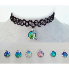 Mermaid tattoo choker, mermaid choker, choker necklace, mermaid... ($2.50) ❤ liked on Polyvore featuring jewelry, necklaces, choker, mermaid, mermaid choker, mermaid scale, tattoo choker, tattoo necklace, choker necklace and choker jewelry