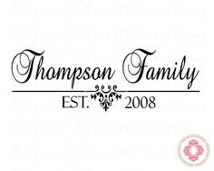 Family Name Vinyl Decal with Established Date - for above the front door!