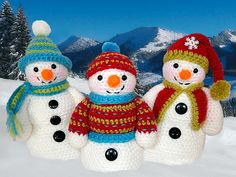 Frosty, Freezy And Fred Amigurumi Pattern - http://pinterest.com/Amigurumipins