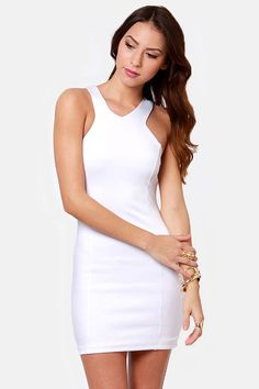 Sexy White Dress - Racer Front Dress - Body-Con Dress - $38.00