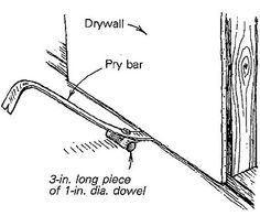 "Drywall kicker - I have to hang some drywall once in a while, but not often enough to justify investing in a real drywall ""kicker -- a lever device made especially for lifting a piece of drywall. Instead, I modified my pry bar as shown in the drawing to do the same task. Through its nail-pulling hole I attached a 3-in. length of 1-in. dia. dowel with a bolt that is countersunk in the dowel. With just a little toe pressure I can lift a drywall panel 2 in. off the floor."
