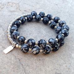 Strength, genuine obsydian 27 bead mala unisex bracelet™