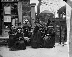 Women knitting and spinning, Capel Garmon c1875 (John Thomas)