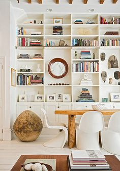 shelf styling + bring in a large rock to add texture and depth