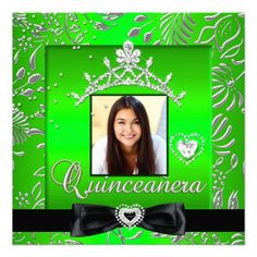 Quinceanera 15th Party Lime green Silver Damask Black Print Silver Photo 15th Birthday Party Invitations All Occasion Invite Add Photo   invitation All Occasions birthday invites