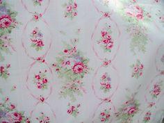 Yuwa  1890's French Reproduction Pink Roses  on White Cretonne (Barkcloth) Yd.  #YuwaUrbangardens