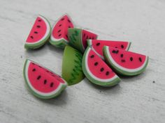 Miniature Watermelon Slices, fairy garden accessory, miniature fruit food, polymer clay water melon, craft supply, dollhouse supply