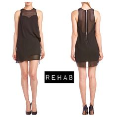 Sweetheart Mesh Dress Sexy sheer sweetheart dress by Rehab. Modern style with an asymmetrical draped style. Zipper in the back. Mesh scoop back. Size small. 34 in long. Ruched left side of dress. Black 100% polyester and sheer mesh. New with tags. (More pictures coming soon) Rehab Dresses