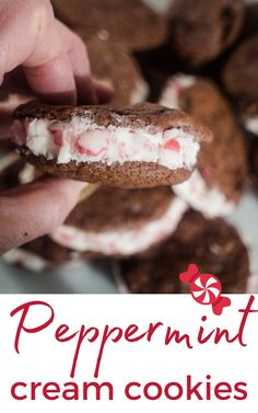These Peppermint Cream Cookies are a delicious Sandwich Cookie. They are made from Peppermint Chocolate Cookies with a creamy filling and added candy cane pieces!