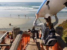 Surfers approach Sand Dollar Beach with surf boards under arms or overhead by mikebaird, via Flickr
