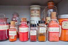 The pigments in the collection come from all over the world, and some are stored in their original delicate glass containers. Photo: Zak Jensen.