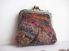 Wet Felted wool coin purse with hand dyed wool.  by ZanieCraftsFeltedArt