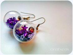 Earrings Glass globe earrings Glitter star earrings fantasy