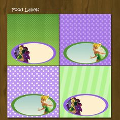 Tinkerbell Printable Food Labels - Tinkerbell Food Labels Purple and Green - INSTANT DOWNLOAD. $3.00, via Etsy.