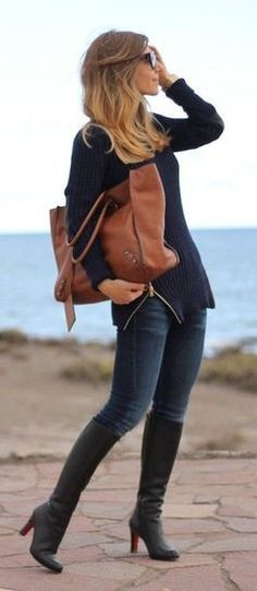 #winter #fashion / knit + denim