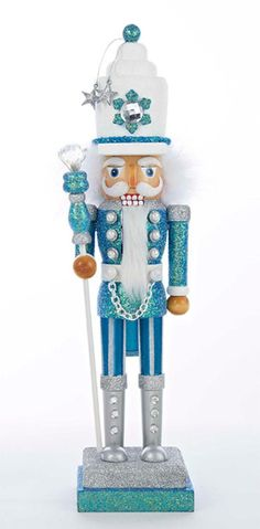 17 Hollywood Turquoise and White Snow Soldier Decorative Wooden Christmas Nutcracker 31335981 | ChristmasCentral