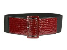 Ladies High Waist Piping Edge Croco Print Patent Leather Fashion Stretch Belt Color: Red Size: M/L 30-36 Made by #beltiscool Color #Red. This wide high waist fashion belt features croco print patent straight strap on both ends with paten