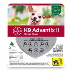 Advantix II Flea and Tick Treatment for Small Dogs, 4 Monthly Treatments, Multicolor Tick Control, Pest Control, Mosquito Repellent For Dogs, Rocky Mountain Spotted Fever, Sick Dog, Flea And Tick, Ticks, Fleas