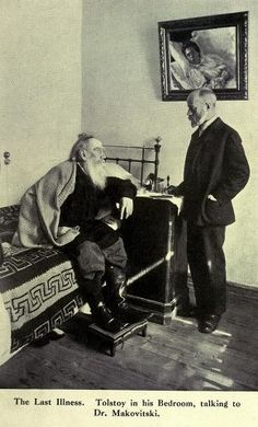 Leo Tolstoy (1828 – 1910) in his bedroom, talking to doctor Dushan Makovitsky who was Tolstoy's personal physician for six years and created a unique document – a daily dairy of the writer's conversations, activities and health. Photo: 1909.